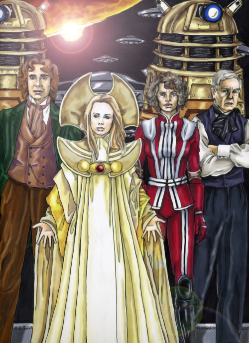 "doctorwho:  The Last Great Time War by ~Nemo-the-Everbeing  Because everyone seems to like ""The Lonely God"", I thought I'd post a few more from that series, which I called ""Scenes that Never Happened."" Basically, I wanted to create images around which scenes could be built (and a few of them I did indeed take and build a story around later). These were all done with ink and marker and then touched up in Photoshop.    oh nooo remembering why I used to be a whovian aaaaahit was because of these handsome jerks"