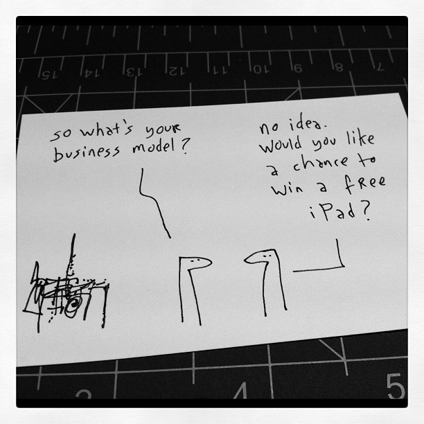 Crackin' drawing from Hugh Macleod at LeWeb hughmacleod:  Cartoon: how most marketing works. #leweb (Taken with Instagram)