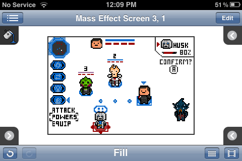 "Here is an alternate mock up of a sprite based handheld ""Mass Effect"" game, but this time taking inspiration from ""Famicom Wars"".  Again, imagine that I hadn't stupidly deleted half the assets and think about the possibilities…  Imagine a turn based strategy game in the ""Mass Effect"" universe, where you could make your own team of commando units and fly off to other planets to fight enemies in tiny strategic battles. Add in multiple factions to play as (Cerberus ! STG ! ), persistent character upgrades and levelling, a little character customisation and the ability to pitch your commando squad against others around the world, and you have yourself a little bundle of brilliance.  Seriously Bioware, just call me or shoot me an email. I would LOVE to help make this real…"
