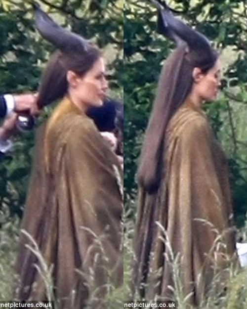 Angelina Jolie on the set of Maleficent. More pics here.