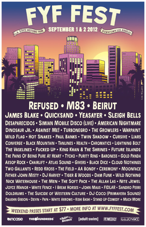 fyffest:  TICKET GIVEAWAY FOR FYF FEST:  Reblog the poster for your chance to win a pair of weekend passes to the festival. Two winners will be picked at 12:00pm on Thursday, June 21st.  And remember that tickets for FYF Fest go on sale this Friday, June 22nd at 5:00pm. For more info on the fest click on the poster  Woooooooooooooo!