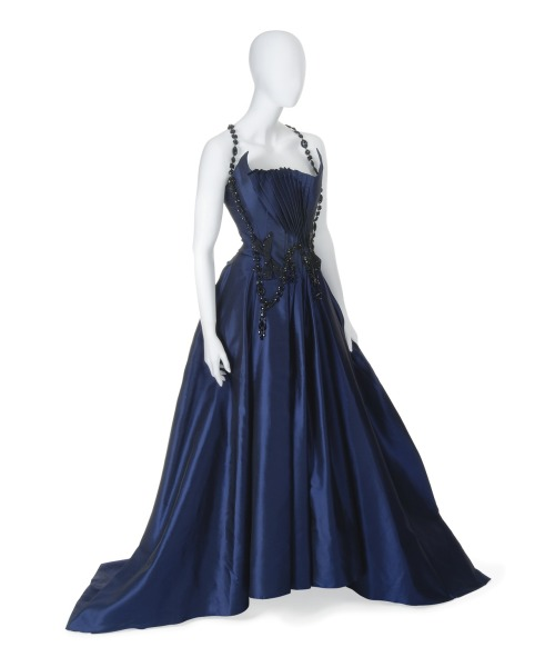 A Magnificent Ball Gown of Midnight Blue Satin Christian Lacroix The Daphne Guinness Collection