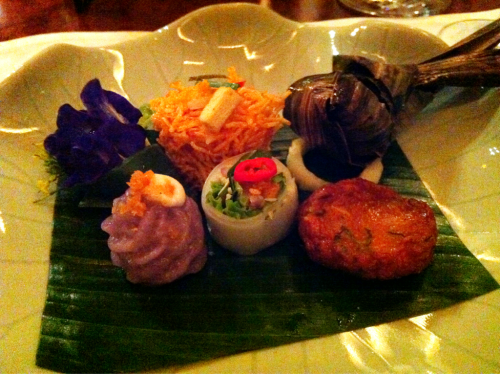 Thai Appetizer assortment from the Celadon restaurant at the Sukhothai in Thailand.