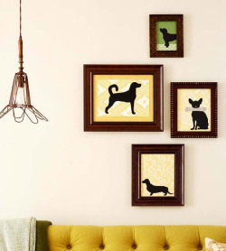 DIY Art Arranging via BHG.com  (P.S. LOVE the dog art….)
