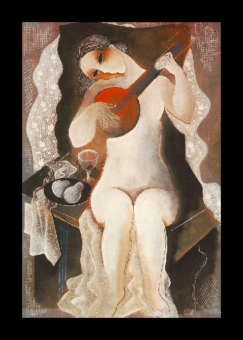 Girl With Guitar, 1935; by Bela Kadar (1877-1956)