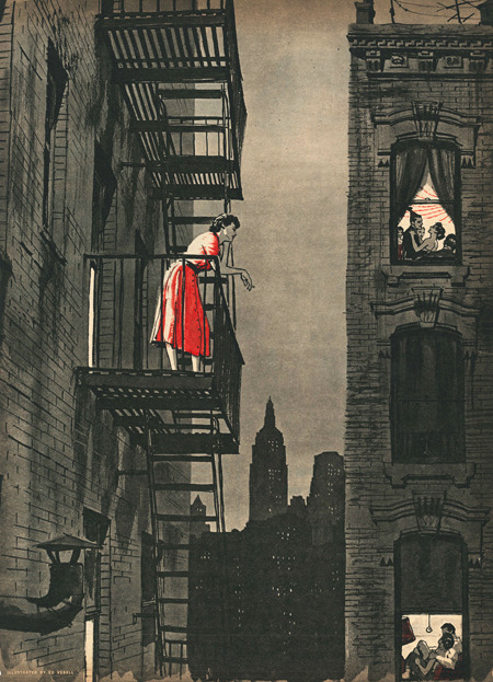 "funnster:  Ed Vebell illustration to ""Loneliness Is Dangerous"" by Harry Coren. Cutline: ""Alone in the midst of millions, the girl, who longed to talk to someone, stood on her fire escape as the voices of others, enjoying the companionship denied her, drifted up through the night."" Sunday Mirror Magazine, August 14, 1955."