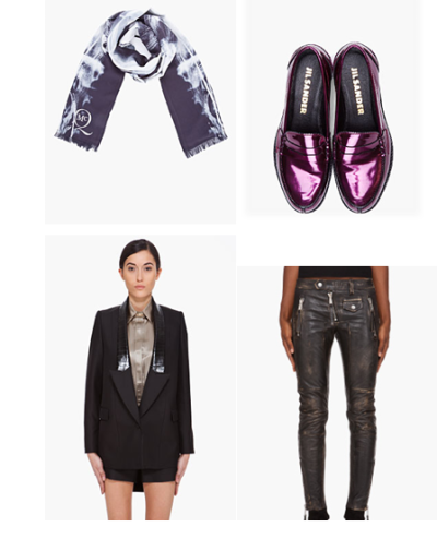 swag.on McQ silk scarf Jil Sander neon patent leather loafers Givenchy evening tuxido jacket Dsquared2 biker chroped leather pants