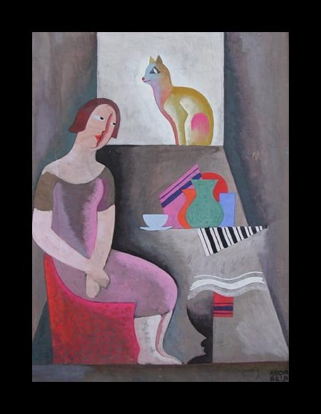 Woman with Cat, 1930; by Bela Kadar (1877-1956)