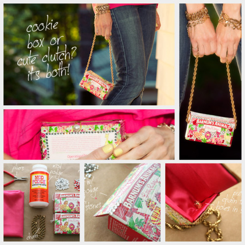 truebluemeandyou:   DIY Lilly Pulitzer Inspired Animal Crackers Clutch Tutorial by Trinkets in Bloom. This is a good tutorial for turning any box into a clutch, adding the chain etc… *One image download.