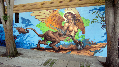 Fresh wall by the Skull and Sword crew.  Haight and Masonic, SF.  Circa 2010.