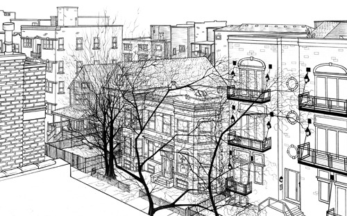 "Phase 2 pencils for ""A Chicago Halloween - Wrigleyville"". At this point, the neighborhood itself was almost completely penciled in. Minus some cleanup, and a few small details like pumpkins and whatnot. There may have been a few other things missing still, but I can't tell what they are. Can you? Well, aren't you special."