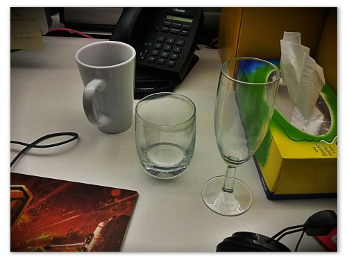 The day today, as told by drinking vessels.
