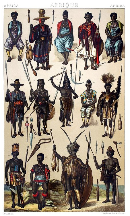 oldbookillustrations:  Africa: people from the West African coast - Gabon, Guinea, Senegal… Auguste racinet, from Le costume historique (The costume history) vol. 2, under the direction of A. Racinet, Paris, six volumes published between 1877 and 1886. (Click here for an even higher resolution) (Source: archive.org)
