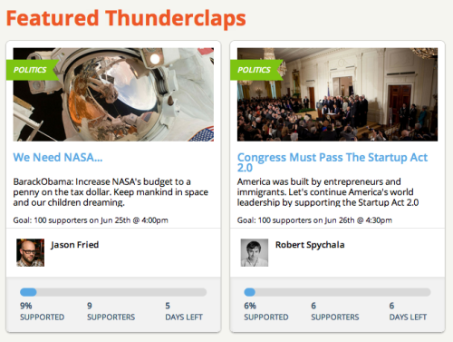 Silenced By Twitter, Thunderclap Returns With A Bang On Facebook The Kickstarter-style messaging platform that Twitter shut down less than two weeks ago is back. This time it's taking its flash mob approach to Facebook—and taking calls from the White House, Al Jazeera, Glenn Beck's crew, and the United Nations. Read more->
