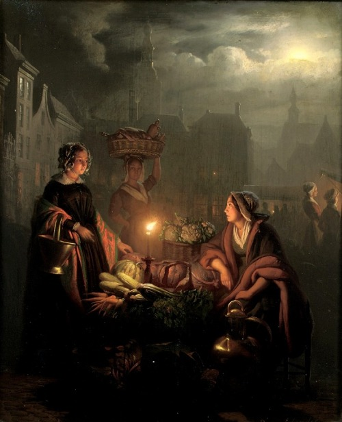 toutpetitlaplanete:  Petrus van Schendel - A Busy Night Market with Vegetable Stall, 1851
