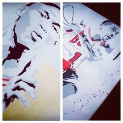 New piece featuring these 2 guys coming very soon #iwantastencil #art #jordan #rose #bulls #artwork  (Taken with Instagram)