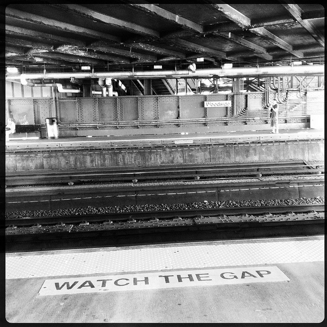 watch the gap. woodside lirr platform. on Flickr.Since I live in Woodside, and my parents are in Bayside, the quickest way to get there is by taking the LIRR. 20 minutes versus over an hour with the 7 and the Q27 bus.
