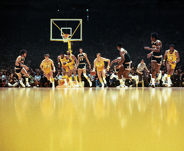 Jerry West leads the break during the 1972 Western Conference Finals between the Lakers and Bucks. Los Angeles would wind up eliminating Milwaukee in six games on their way to an NBA championship. (Walter Iooss Jr./SI) GALLERY: Iconic Photos of the Los Angeles Lakers
