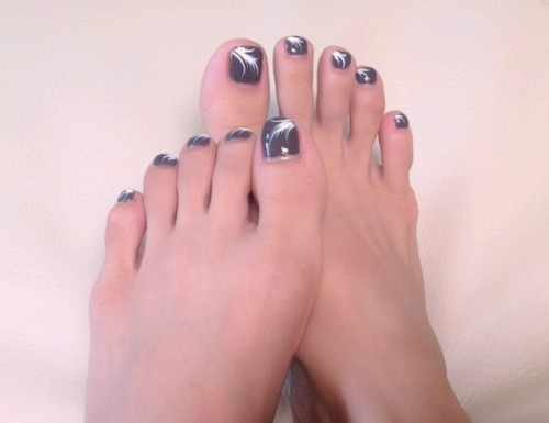 Summer pedicure Polish used: Base coat:Sally Hansen Triple Strong Nail Fortifier 2 coats of Sinful color Professionalin 'Nirvana' #949 Design is hand drawn using a white striper. Top coat: Seche Vite dry fast top coat For pedicure, I'm still transitioning into summer :-) I still like dark polishes as base color with contrasting designs.  What do you wear on your little toes?