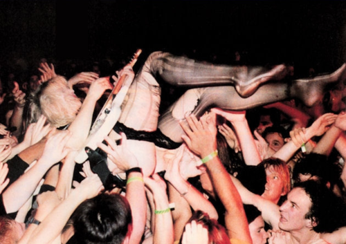 grungeaddicted:  Courtney Love stage diving, The Masquerade, Atlanta, 1994.