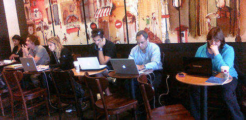"Study of the Day: Why Crowded Coffee Shops Actually Help Creative Thinking  The next time you're stumped on a creative challenge, head to a bustling coffee shop, not the library. As the researchers write in their paper, ""[I]nstead of burying oneself in a quiet room trying to figure out a solution, walking out of one's comfort zone and getting into a relatively noisy environment may trigger the brain to think abstractly, and thus generate creative ideas.""  Read more. [Image: Global X/Flickr] (via theatlantic)"