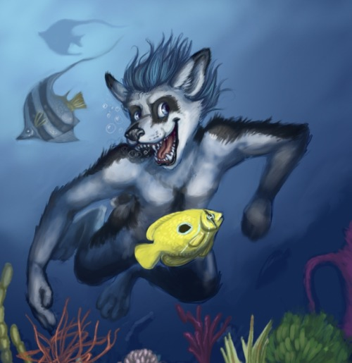 Swimming pooch, commission for someone featuring their character. First time doing a full underwater scene. Digital. Image is now being used on the character player's credit card. Digital, Gimp, 3 hrs