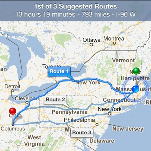 TNNA bound! That's a lot of miles between us and the show. #tnna #roadtrip (Taken with Instagram)