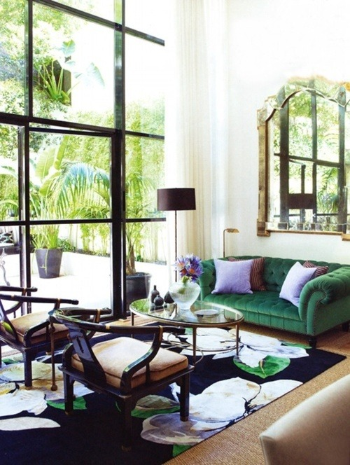 Source: Gild & Grace The amazingly stylish Branden Wong. This living room is part of a story that was featured in Belle Magazine. Need to get my hands on that issue! Love love love the green velvet chesterfield sofa. Customize your own here.