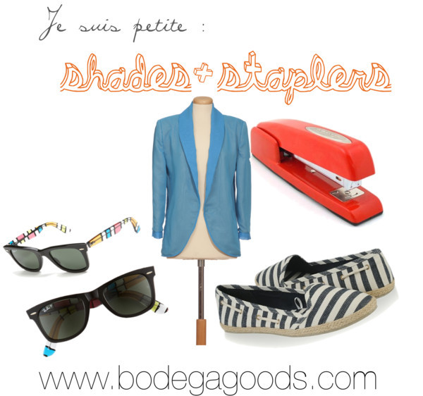 thousandsofwordsonepicture:  je suis petite : shades + staples by bodegagoods featuring striped sunglasses  Szegedi Kata long jacket, €128Ray-Ban striped sunglasses, $200