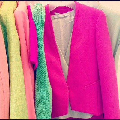 Shades of pink and green - the color combo we want to wear now spotted at @DVF #resort13 (Taken with Instagram)