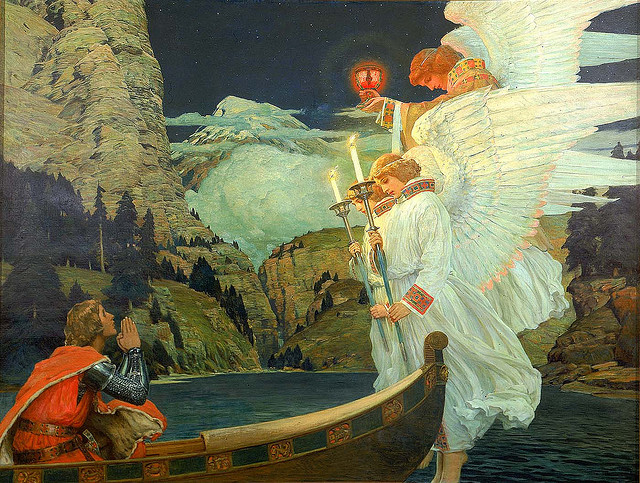 necroluste:  Frederick J. Waugh - The Knight of the Holy Grailca. 1912oil on canvas