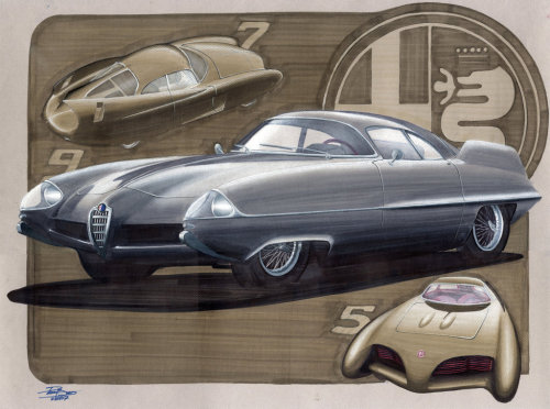 Alfa Romeo BAT concepts artwork (1953-1955) Out of which three working prototypes were made, at the hands of Bertone.