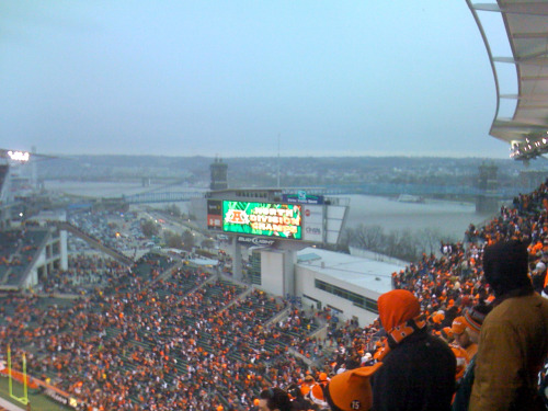 Paul Brown Stadium offers a scenic view of the Ohio River