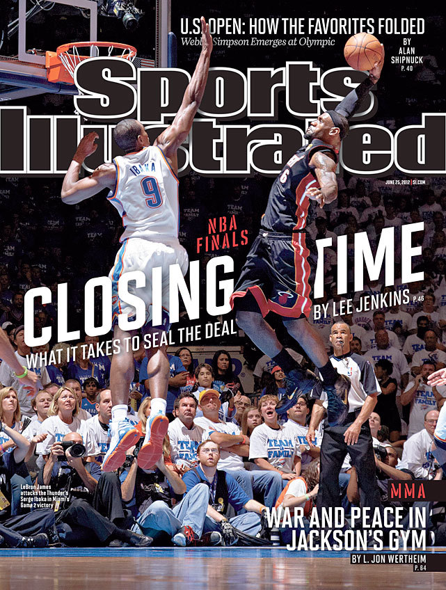 This weeks' SI cover features LeBron James skying for a dunk during Game 2 of the NBA Finals. Although Serge Ibaka would wind up blocking this attempt, it makes for a great cover. (Greg Nelson/SI)