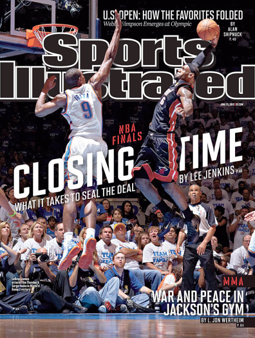 siphotos:  This weeks' SI cover features LeBron James skying for a dunk during Game 2 of the NBA Finals. Although Serge Ibaka would wind up blocking this attempt, it makes for a great cover. (Greg Nelson/SI)
