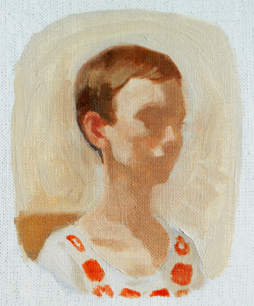 Rachel Doris: Untitled Self-Portrait no. 13, Oil on un-stretched linen (7x6), 2012