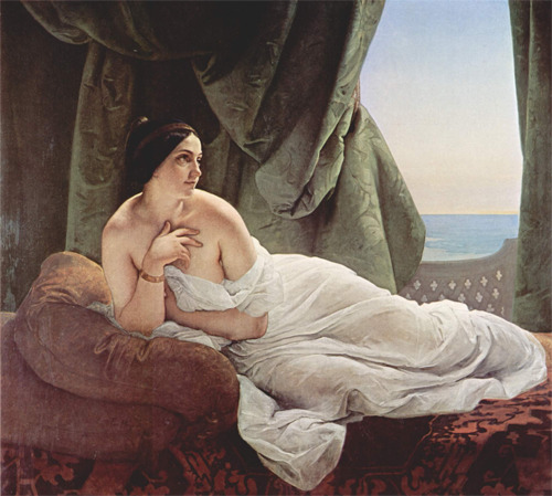 historical-paintings:   Francesco Hayez, Reclining odalisque   she looks like Hannah Horvath from Girls lol