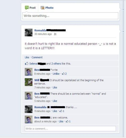 collegehumor:  Facebook Girl Inadvertently Learns Basic Rules of Grammar I know, write?