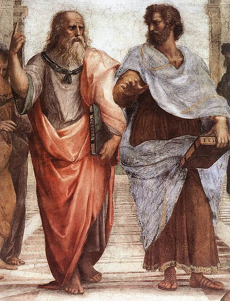 collective-history:  Plato (left) and Aristotle (right), a detail of The School of Athens, a fresco by Raphael. Aristotle gestures to the earth, representing his belief in knowledge through empirical observation and experience, while holding a copy of his Nicomachean Ethics in his hand. Plato holds his Timaeus and gestures to the heavens, representing his belief in The Forms