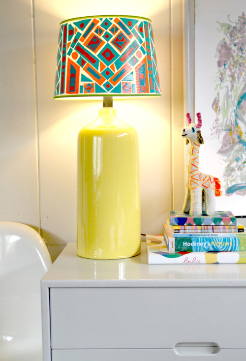 "DIY Duct Tape Lampshade Tutorial from Justina Blakeney here. I don't post a lot of home decor projects because they aren't my style or I know what they entail and I call them ""Home Depot Projects"" - code word in my house for this looks easy but it's going to look ""homemade ugly"" if I do it. But I really like this lampshade."