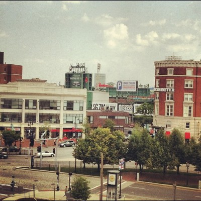 A nice glimpse of Fenway from one of the offices. (Taken with Instagram) More on BU Today