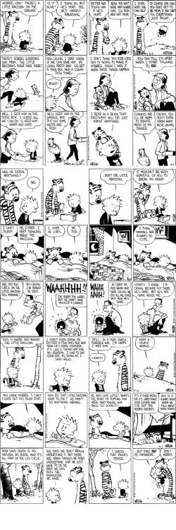 Just rip my heart out, why don't you?Calvin and Hobbes, March 9-18, 1987, written and illustrated by Bill Watterson.