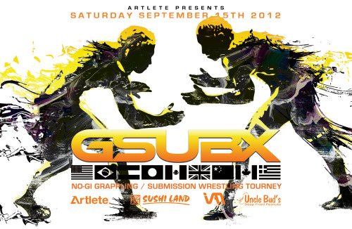 ARTLETE will be presenting GsubX's fourth Grappling & Submission Wrestling on SEPT 15th in Seattle. Check out the updated art/poster we designed for the event! For info on the event visit: www.gsubx.com