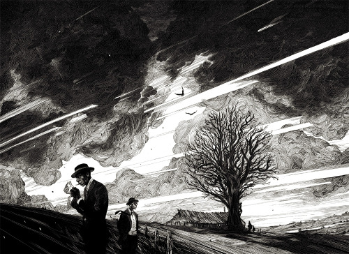 "snowce:  Nicolas Delort, Vigil, Ink on claybord - 12""x16"""