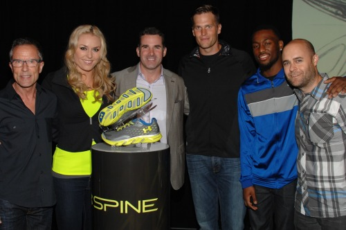 Under Armour SVP of footwear Gene McCarthy, Lindsey Vonn, Under Armour CEO Kevin Plank, Tom Brady, Kemba Walker and Under Armour senior creative director David Dombrow