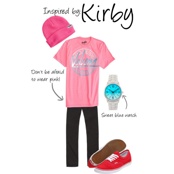 "Kirby (Kirby Games) by ladysnip3r featuring vans shoes This outfit is inspired by Kirby! I've received multiple requests for a guy outfit inspired by Kirby and I just couldn't resist. I think more guys should wear pink, since it's such a flattering color (and it doesn't always have to be ""preppy"" either). I did more of a skater-styled outfit with a baggy t-shirt and beanie. I think the baggy clothes are similar to Kirby's ability to suck in air and get bigger. (Reference Image) Vans shoes, $45ASOS bracelet watch, $41Volcom 80's Art Tee, $22Neff Fold Beanie, $16"