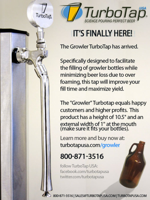 "The moment a lot of you have been waiting for, The Growler TurboTap has arrived!  Now minimize beer loss and maximize yield while bottling your beer into Growlers.  Learn more about this 10.5"" TurboTap Growler here: http://ow.ly/bIB7V Give this post a LIKE if you bottle Growlers or simply love buying your favorite local craft beer in Growlers!"