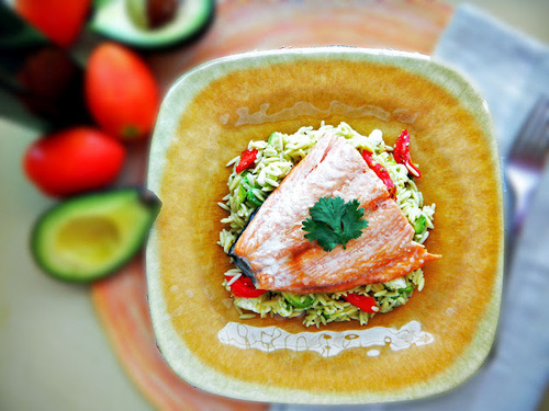 in-my-mouth:  Salmon with Orzo and Sun-Dried Tomatoes