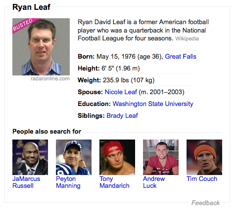Everything that happens when you google Ryan Leaf is perfect.