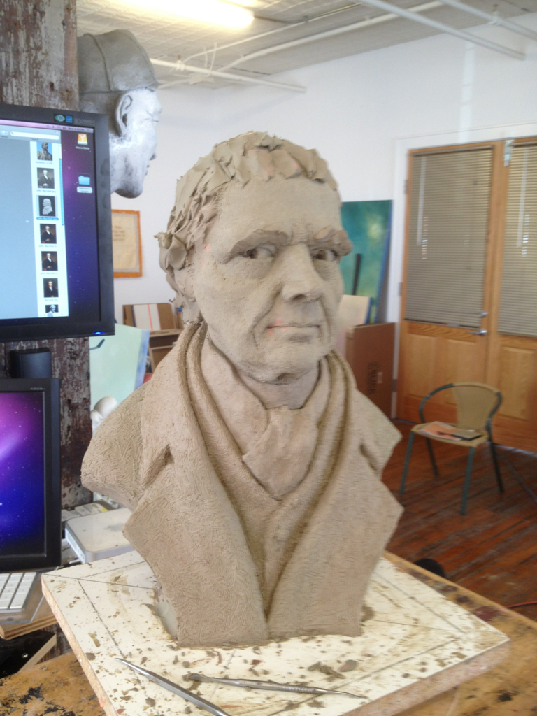 Small bust of Supreme Court Justice, John Marshall for a client. 90% done in clay.